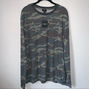 🔥NEW🔥FOREVER21 camo print l/s shirt